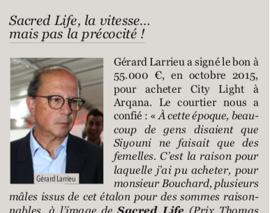 SACRED LIFE highlighted in the Jour de Galop