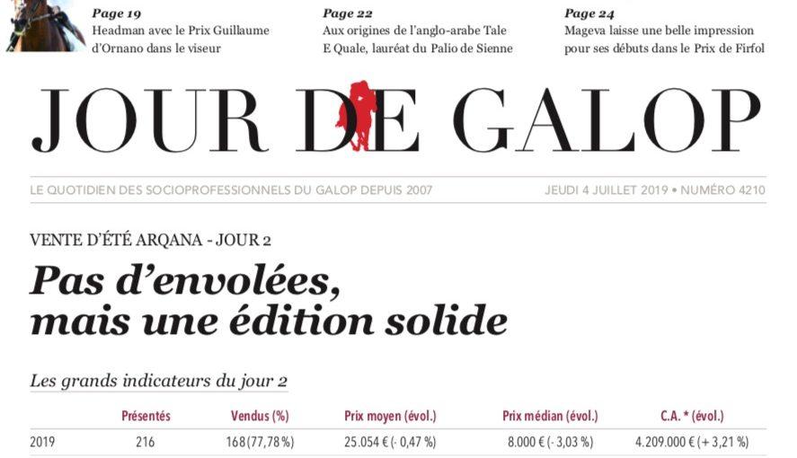 Gérard Larrieu highlighted in Jour de Galop for the ARQANA sales