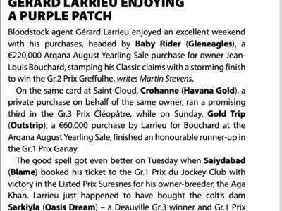 Gérard Larrieu enjoying a purple patch